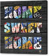 Home Sweet Home Rustic Vintage License Plate Lettering Sign Art Canvas Print