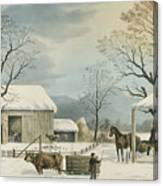 Home To Home To Thanksgiving, 1867 Canvas Print