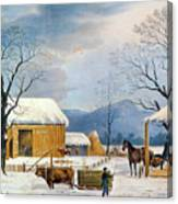 Home To Thanksgiving, 1867 Canvas Print