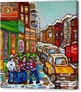 Home Town Painting St Viateur Bagel Street Scene Coca Cola Truck Montreal 375 Carole Spandau Art     Canvas Print