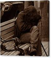 Homeless - Sepia Canvas Print