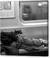 Homeless In Motion In Black And White Canvas Print