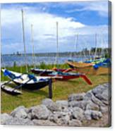 Homemade Outriggers Canoes On The Indian River Lagoon In Florida Canvas Print