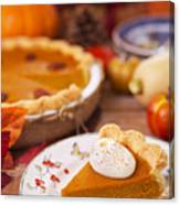 Homemade Pumpkin Pie On A Rustic Table With Autumn Decorations Canvas Print