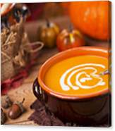 Homemade Pumpkin Soup On A Rustic Table With Autumn Decorations Canvas Print
