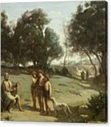 Homer And The Shepherds In A Landscape Canvas Print
