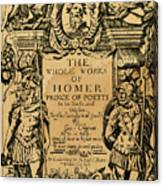 Homer Title Page, 1616 Canvas Print