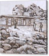 Homestead On Brush Creek Historical Vignette Canvas Print