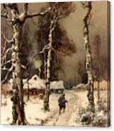 Homeward Through The Winter Forest Canvas Print