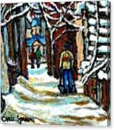 Buy Original Paintings Montreal Petits Formats A Vendre Scenes Man Shovelling Snow Winter Stairs Canvas Print