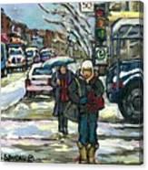 Rue Cote St Catherine Peintures Petit Format A Vendre Scenes De Ville Montreal Street Scenes  Canvas Print