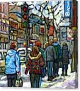 Promenade Au Centre Ville Rue Ste Catherine Montreal Winter Street Scene Small Paintings  For Sale Canvas Print