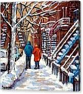 Promenade En Hiver Winter Walk Scenes D'hiver Montreal Street Scene In Winter Canvas Print