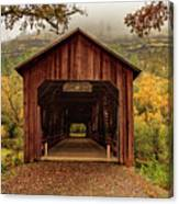 Honey Run Covered Bridge In Autumn Canvas Print