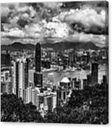 Hong Kong In Black And White Canvas Print