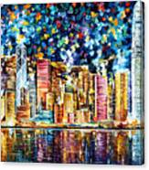 Hong Kong - Palette Knife Oil Painting On Canvas By Leonid Afremov Canvas Print