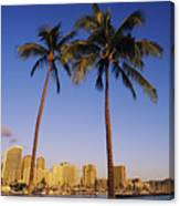 Honolulu And Palms Canvas Print