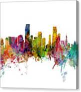 Honolulu, Miami And Nashville Skylines Mashup Canvas Print