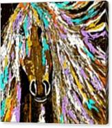 Horse Abstract Brown And Blue Canvas Print