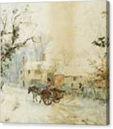 Horse Drawn Carriage In The Snow Canvas Print