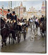 Horse Drawn Carriages And Women On Horseback Riding Sidesaddle O Canvas Print