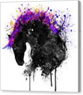 Horse Head Watercolor Silhouette Canvas Print