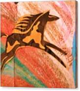 Horse Jumping Over Colors Canvas Print