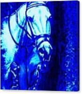 Horse Painting Jumper No Faults Blue Canvas Print