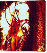 Horse Painting Jumper No Faults Deep Blues And Reds Canvas Print