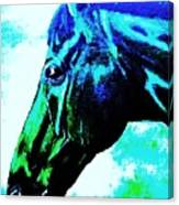horse portrait PRINCETON really blue Canvas Print