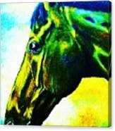 horse portrait PRINCETON vibrant yellow and blue Canvas Print