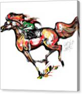 Horse Racing In Fast Colors Canvas Print
