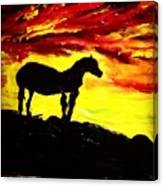 Horse Rider In The Sunset Canvas Print