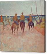 Horseman On The Beach Canvas Print