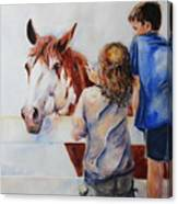 Horses And Children Painting Canvas Print