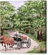 Horses And Wagon Canvas Print