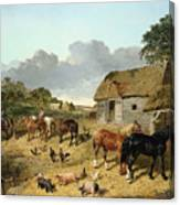 Horses Drinking From A Water Trough, With Pigs And Chickens In A Farmyard Canvas Print