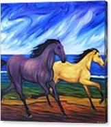 Horses Running On The Beach Canvas Print