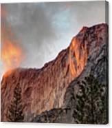 Horsetail Falls Cloudy Sunset Canvas Print