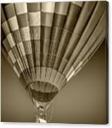 Hot Air Balloon And Bucket In Sepia Tone Canvas Print
