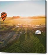 Hot Air Balloon Taking Off At Sunrise Canvas Print