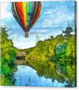 Hot Air Balloon Woodstock Vermont Pencil Canvas Print
