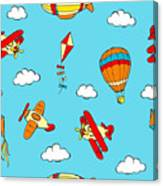 Hot Air Balloons And Airplanes Fly In The Sky Canvas Print