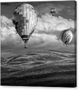 Hot Air Balloons In Black And White Over Fields Canvas Print
