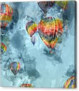 Hot Air Balloons Digital Watercolor On Photograph Canvas Print