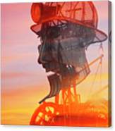 Hot And Steamy Man Engine Canvas Print