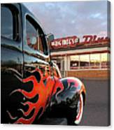 Hot Rod At The Diner At Sunset Canvas Print