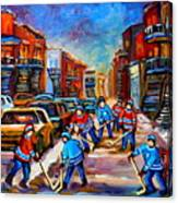 Hotel De Ville Montreal Hockey Street Scene Canvas Print