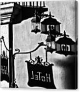 Hotel Sign - Reality And Shadow Canvas Print