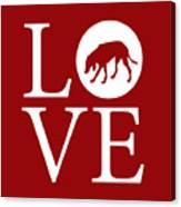 Hound Dog Love Red Canvas Print